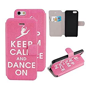 Mini - Elonbo Keep Calm Design Style Mat Lines PU Leather Flip Stand Full Body Case Cover for iPhone 5/5S