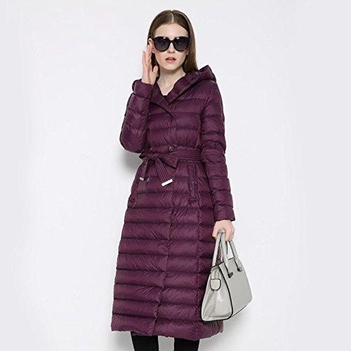 Row Purple Solid Coat Buckle COAT DYF Down Pocket Jacket FYM Color XXL Double Hat Belt Warm w8PC6xq