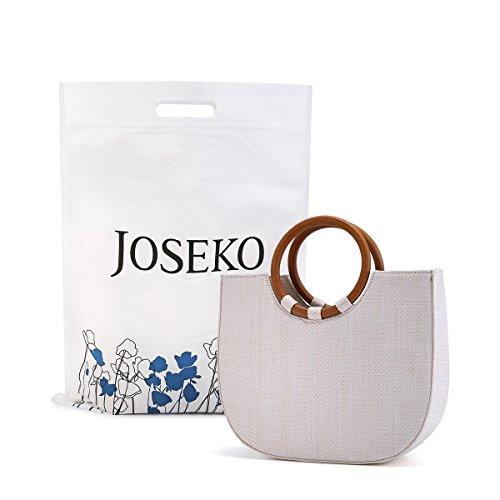 Summer Beach Bag, JOSEKO Womens Straw Handbag Straw Shoulder Bag for Beach Travel and Everyday Use White 11.4
