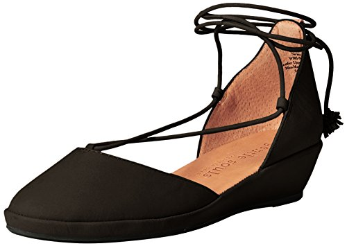 Gentle Souls Women's Nerissa Low Wedge with Laceup Pom Pu...