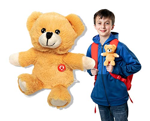 GOPALS Lukie The Bear Cuddly Stuffed Animal Plush Toy, Clip on Backpack, 7 inches