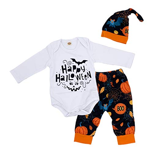 Baby Boy Girls 3Pcs Happy Halloween Costume Outfit Set Pumpkin Romper Pants Set with Hat White Size 18-24Months