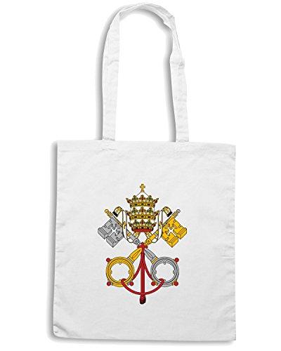 T-Shirtshock - Bolsa para la compra TM0085 escudo vaticano citta Blanco