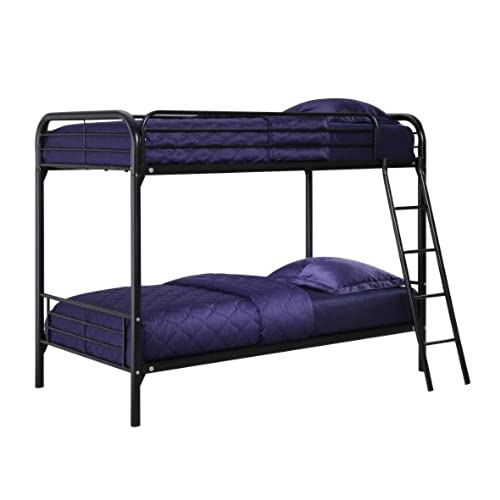 DHP Twin Over Bunk Bed With Metal Frame And Ladder Space Saving Design Black