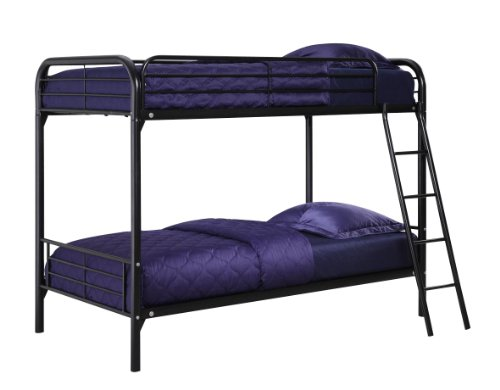 DHP Twin-Over-Twin Bunk Bed with Metal Frame and Ladder, Space-Saving Design, Black by DHP