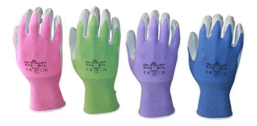 Atlas 370 Garden Glove 4 Pack (Small, purple pink periwinkle green)