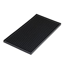 "Rubber Bar Service Mat, Silicone Dish Drying Mat, Anti-Bacterial, Dish Washer Safe, Heat Resistant Trivet Black 5.9"" x 11.7"""