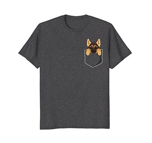 Mens Pocket German Shepherd Puppy! Cute Dog Lover T-Shirt 2XL Dark Heather