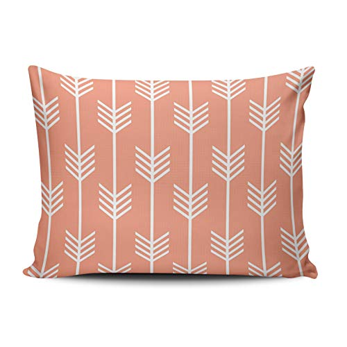 ONGING Decorative Pillowcases Coral and White Modern Arrow Fletching Pattern Peach Customizable Rectangle Standard Size 16x24 inch Throw Pillow Case Hidden Zipper One Side Design Printed