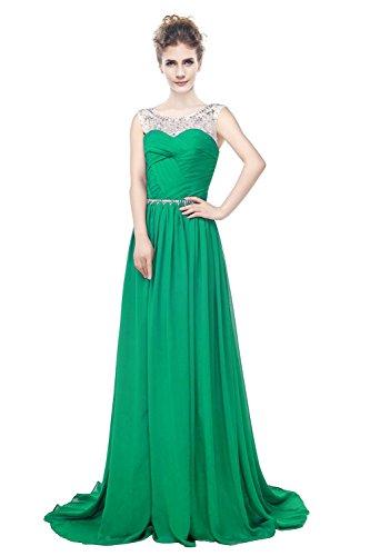 A Grün Gerüscht Frauen Träger engerla Chiffon Kleid Kristall Pailletten Line Sheer Rückenfrei Ball OAx0gqxZw