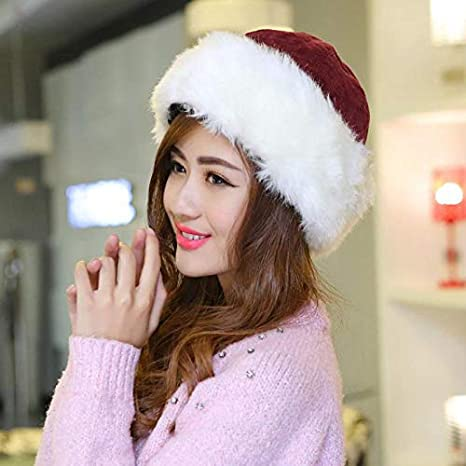 8b5af6c6cfa8f Amazon.com  FelixStore Faux Fur Winter Warm Hat Women Men Christmas Hats  Unisex Classic Solid Color Cap One Size 55-58cm Thick Corduroy Caps Women  Men  ...