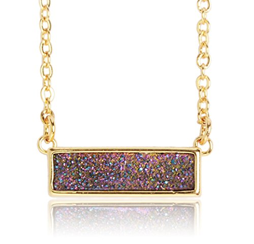 ZENGORI Handmade Gold Plated Natural Agate Titanium Druzy Rectangle Pendant Necklace Jewelry ZG041-2RW