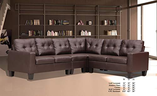 Corner Wedge Fabric Upholstered (Esofastore Living Room Furniture Formal Look Causal Modern Sectional Sofa Set Brown PU Upholstered Cushion Loveseat Armless Chair Corner Wedge)