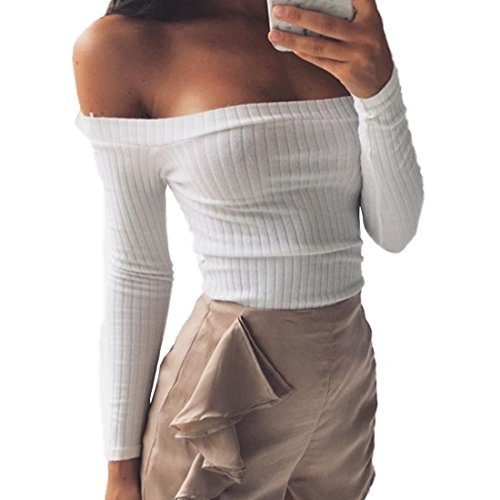 Smartprix Womens Slim Off Shoulder Long Sleeve Rib-Knit Crop Pullover Tops Sweater Small White