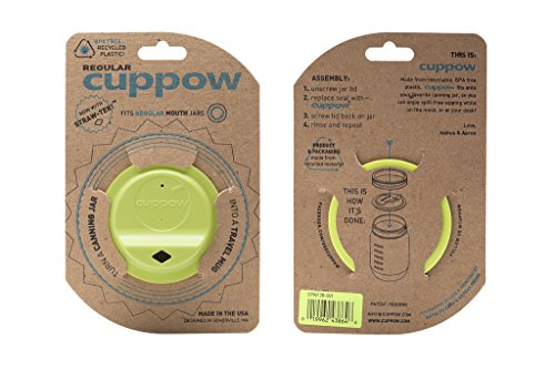 Cuppow Canning Jar Drinking Lid - Regular Mouth - Chartreuse