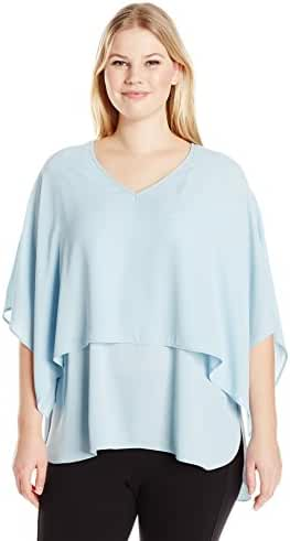 Karen Kane Women's Plus Size Double Layer V Neck Top