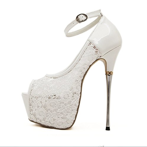 Liangxie Boda Sandalias Cabeza De Club Para Zapatos Gran Pescado Tamaño Tacones Tacón Metal Altosxiaoqi Sexy Nocturno Encaje Blanco Alto Novia Mujer Ultra rfrdwq5T