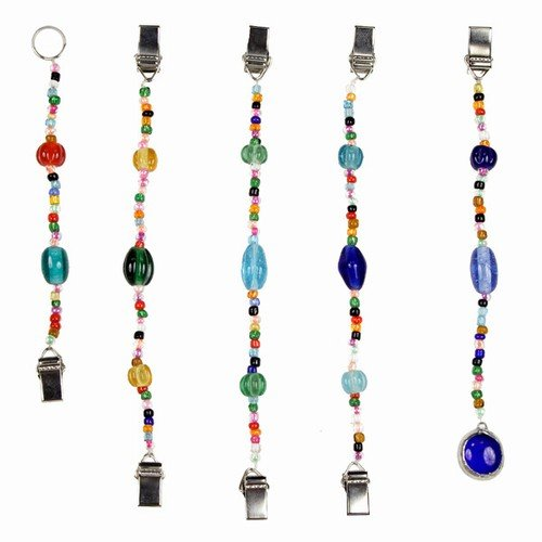 GLASS BEADS PHOTO CLIPS 5 PIECE SET 7''L