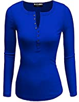 Ollie Arnes Women's Warm Solid Long Sleeve Thermal or Cotton Knit Henley Tops