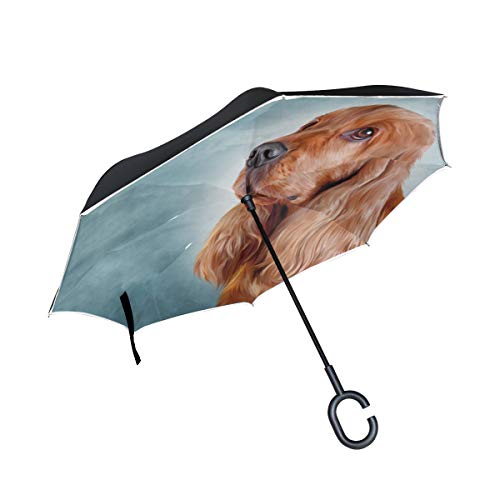 KUneh Double Layer Inverted Drawing Dog English Cocker Spaniel Portrait Umbrellas Reverse Folding Umbrella Windproof Uv Protection Big Straight Umbrella for Car Rain Outdoor with C-Shaped Handle