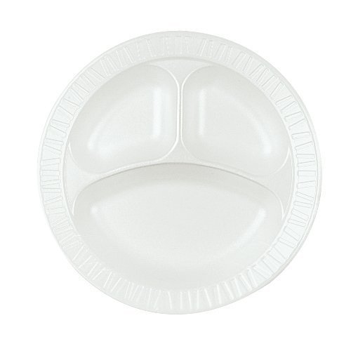 Non Dinnerware Laminated Foam (Dart 10CPWQR Laminated Foam Dinnerware, Plate, 3-Comp, 10 1/4