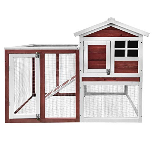 Merax Rabbit Bunny Hutch House with Black Linoleum Roof, Auburn and White
