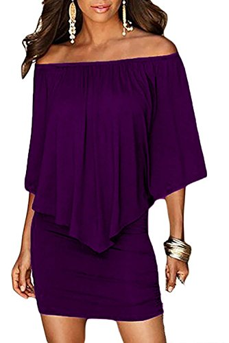 DREAGAL Women's Cocktail Clubwear Bodycon Midi Dress Purple XXX-Large (Purple Dress Clubwear)