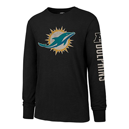 NFL Miami Dolphins Men's OTS Slub Long Sleeve Team Name Distressed Tee, Jet Black, Small