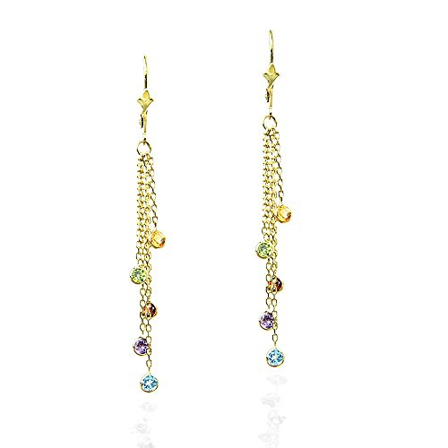 14k Chandelier - 14k Yellow Gold Chandelier Earrings with Round Gemstone Stations