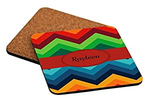 Rikki Knight Rayleen Name on Fall Colors Chunky Chevron Design Cork Backed Hard Square Beer Coasters, 4-Inch, Brown, 2-Pack
