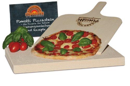 Pimotti 202_002 Schamott Pizzastein Brotbackstein, 3cm mit Schaufel und Rezepten