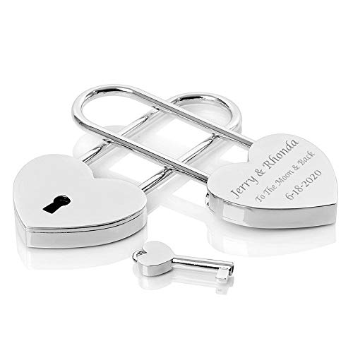 Personalized Silver Heart Shaped Love Lock Padlock with Key Engraved Free