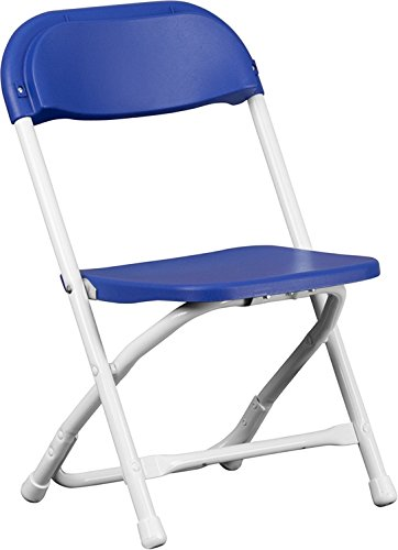 Blue Poly Plastic Kids Lightweight Heavy Duty 220-Pound Capacity Stackable Folding Classroom, Event, Banquet, and Wedding Chairs (Blue, 8-Pack) by TentandTable