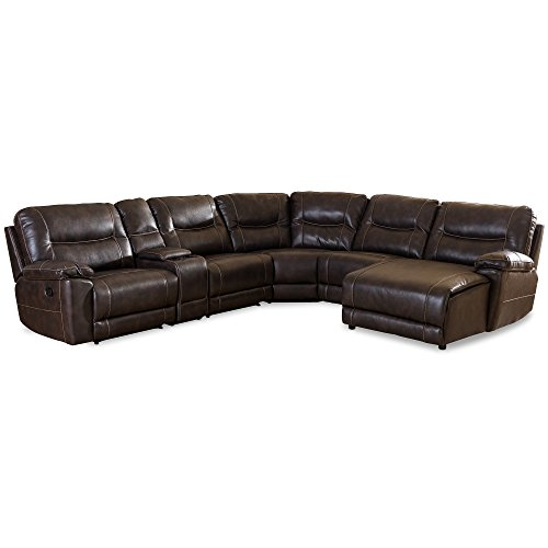 - Baxton Studio Gilles Modern & Contemporary Bonded Leather 6 Piece Sectional with Recliners Corner Lounge Suite, Brown