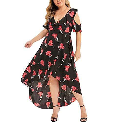 Witspace Womens Fashion Plus Size Print Asymmetrical V-Neck High Waist Dress Black