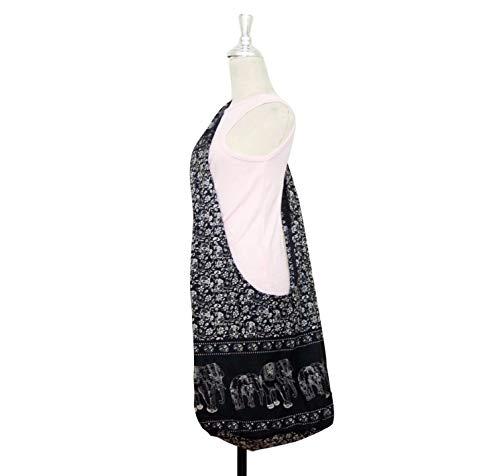 Hippie Elephant Sling Crossbody Bag Purse Thai Top Zip Handmade Black S11 by Thai Hippie Bag (Image #2)