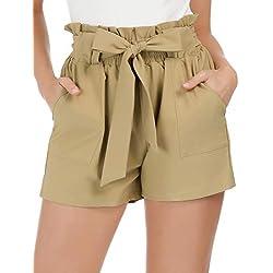 GRACE KARIN Women Casual High Waist Summer Beach Short Pants S Khaki