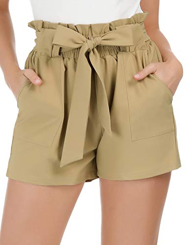(GRACE KARIN Women's Casual Elastic Belted Solid Short Pants M Khaki(Shorts))