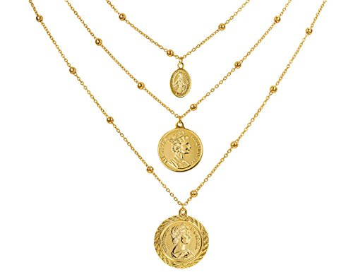 Coin Pendant Necklace 18K Gold Plated Canadian Coin Station Chain Coin Vintage Layered Necklace for Women ()