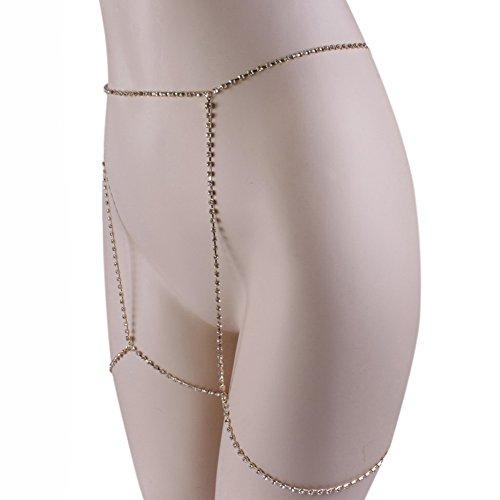 European Stylish Sparkling Rhinestone Sexy Diamond Thigh Body Chain Waist Leg Chain Body Fashion Jewelry Silver Photo #2