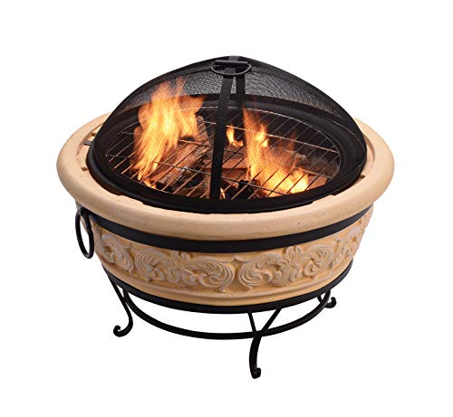 Peaktop HR26303AA-S Intricate Design Wood Burning Fire Pit Outdoor Garden Round, 27 Inches, Light Brown