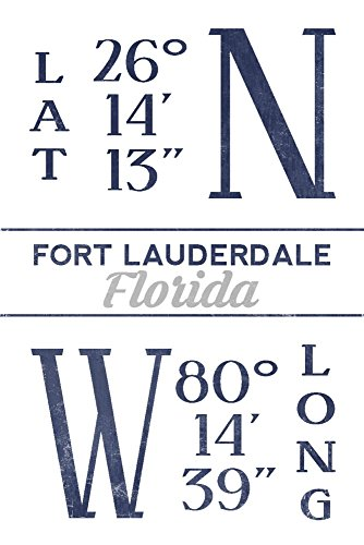 Fort Lauderdale, Florida - Latitude and Longitude (Blue) (16x24 Giclee Gallery Print, Wall Decor Travel Poster)