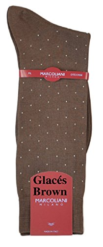 Marcoliani Men's Mercerized Cotton Lisle Mid-Calf Pin Dot Iatlian Dress Sock-1 Pair Glaces (Mens Pin Dot Dress Sock)