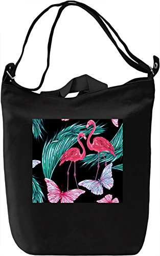 Flamingo And The butterfly Pattern Borsa Giornaliera Canvas Canvas Day Bag| 100% Premium Cotton Canvas| DTG Printing|