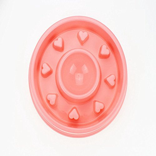 EBRICKON Dog Slow Feeder Anti-Choke Dog Plastic Bowl Puppy Feeding Feed Food Bowl for Dogs Cats Healthy Food Dish for Small Pet (Pink) by EBRICKON