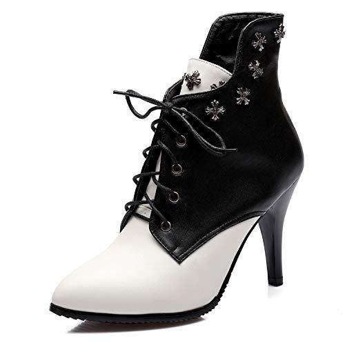 Stivali Scarpe Tacco di da Donna Stivaletti Caldo LIUYL Stringate Scarpe Grandi Stiletto Black Eleganti Alto Party Dimensioni Rivetto Eleganti da SqaR7W7n
