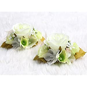 Charming Flower Boutonniere Pins for Wedding prom (2pcs) (Green theme) 99