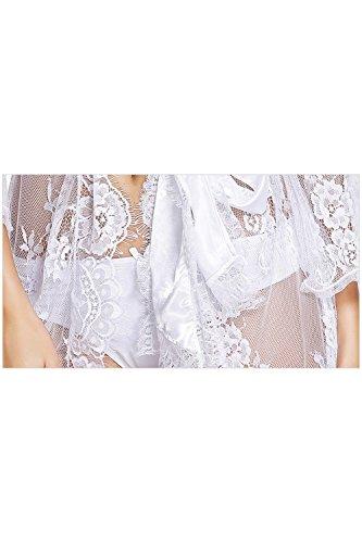 Lingerie Cintura Pizzo Camicia Le Kimono Babydoll Donne White Vestaglia Di Di Con Zonsaoja Da Notte PUOBR