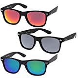 zeroUV - Rubberized Frame Reflective Mirror Polarized Lens Square Horn Rimmed Sunglasses 55mm (3 Pack Polarized | Red +)