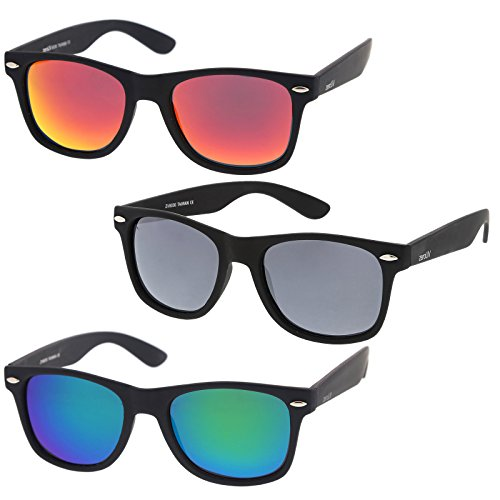 zeroUV - Rubberized Frame Reflective Mirror Polarized Lens Square Horn Rimmed Sunglasses 55mm (3 Pack Polarized | Red +) by zeroUV